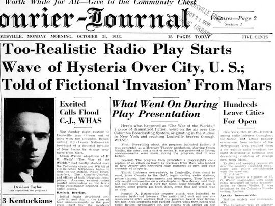 The Oct. 31, 1938, front page of The Courier-Journal the morning after Orson Welles' 'War of the Worlds' broadcast.