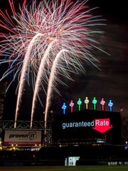 Jun 1, 2018; Chicago, IL, USA; Fireworks are seen after a game between the Chicago White Sox and the Milwaukee Brewers at Guaranteed Rate Field. Mandatory Credit: Patrick Gorski-USA TODAY Sports ORG XMIT: USATSI-375511 ORIG FILE ID:  20180601_sng_gb9_214.JPG