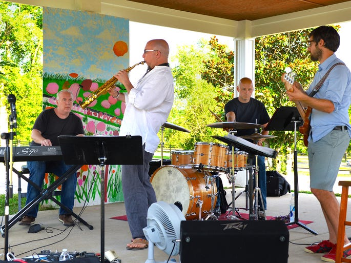 Jim Coffin brought his band to play at Monthaven on Sunday, June 15. Pictured from left are keyboard player Chris Walters, three-time Grammy winner Jeff Coffin playing electrified soprano saxophone, Josh Hunt on drums and Jonathan Estes playing guitar.