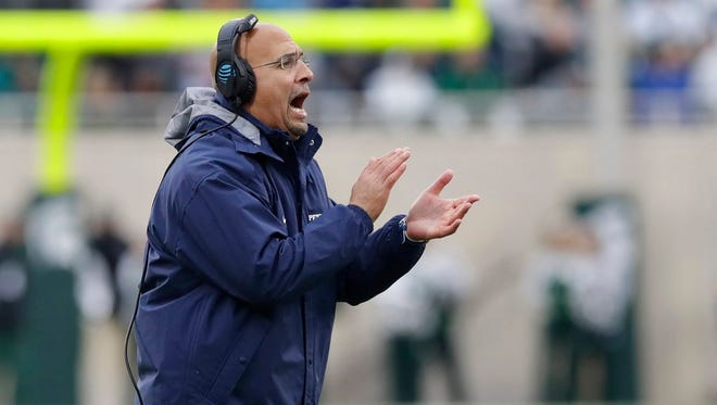 Penn State head coach James Franklin yells during the first half of an NCAA college football game against Michigan State, Saturday, Nov. 4, 2017, in East Lansing, Mich. (AP Photo/Carlos Osorio)