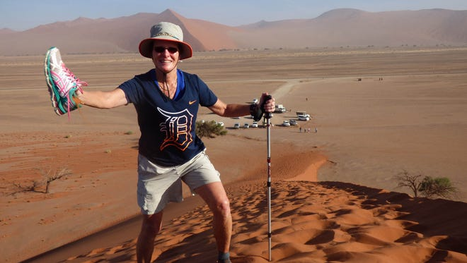 "Sandy Grzych of Shelby Township took the ""D"" to the sand dunes in Sossusvlei, Namibia in January 2017."