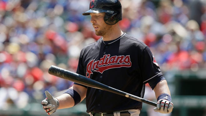 Indians' Chris Gimenez reacts to striking out in the third inning Sunday.