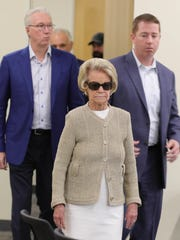 Lions owner Martha Firestone Ford arrives for Matt Patricia's press conference, Thursday.