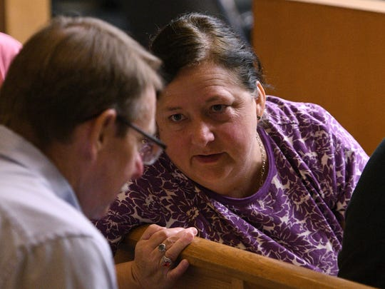 Robin Owens, mother of Brittany Eldridge, while waiting on Norman Eugene Clark to arrive for court Tuesday, Sep. 19, 2017. Clark is accused of killing his girlfriend, Brittany Eldridge, and their unborn son in Dec 2011. The trial is in Knox County Criminal Court before Judge Steven Sword.