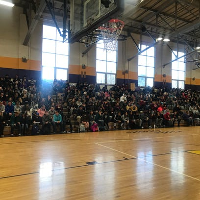 Students sit in the bleachers at Waynesboro High School