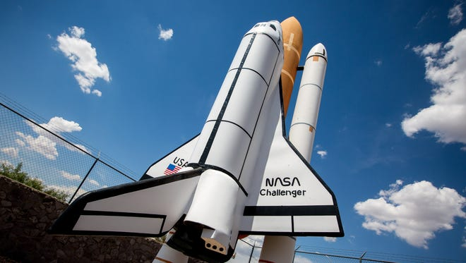 A model of the NASA space shuttle Challenger points toward the sky at the Space Murals Museum off U.S. 70 in Organ, New Mexico.