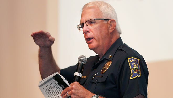Noblesville Police chief  Kevin Jowitt talks about the police department's new plans for safer schools. Noblesville Schools held a safety forum for teachers, parents and the public at Noblesville High School to announce a few new things, including detailing protocol changes, costs and a timeline for changes on Wednesday, July 18, 2018.