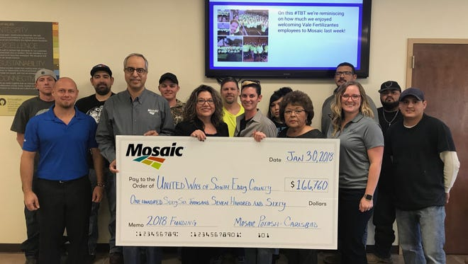 Mosaic presented United Way of Carlsbad and South Eddy County a check for $166,760.