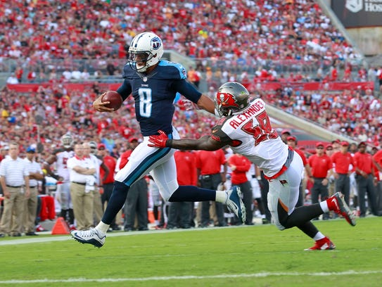 Sep 13, 2015; Tampa, FL, USA; Tennessee Titans quarterback