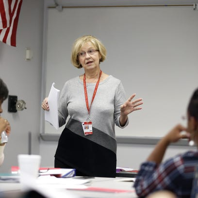Susan Martelli guides students in their options for