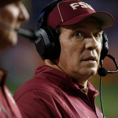 Jimbo Fisher coaches from the sidelines as his team