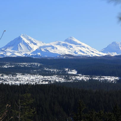 A view of the Three Sisters is seen from the Isaac
