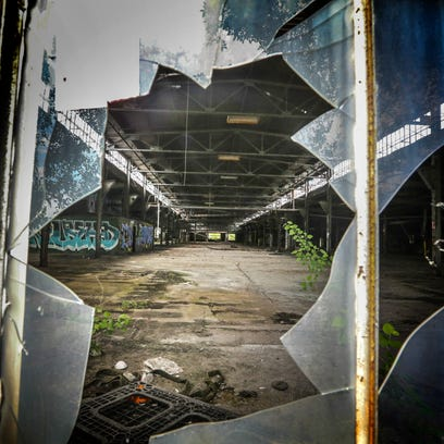 Inside one of 20 buildings on the large, contaminated