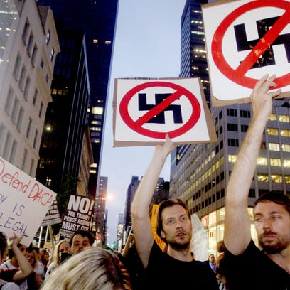 Crowds protest near Trump Tower in New York City Aug.