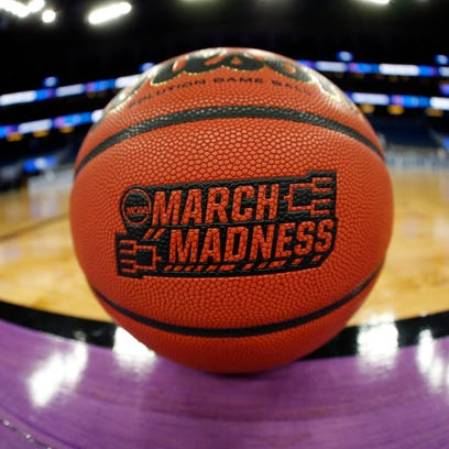A general view of a March Madness basketball prior