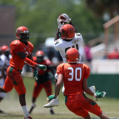 Wide receiver Chad Hunter makes a catch during the