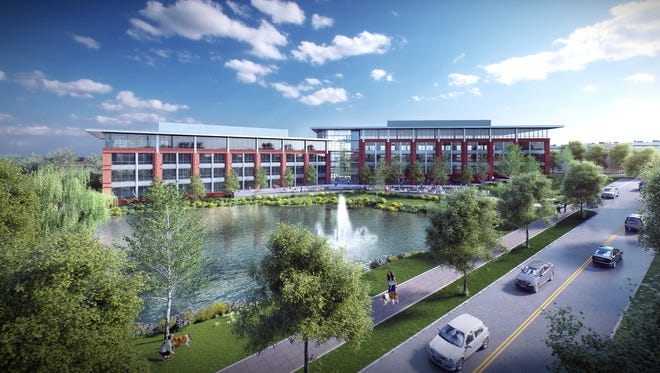 A rendering shows the western elevation of McEwen Northside, which will feature a mix of retail, residential and office space.