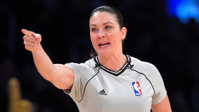 Former Drury University basketball star Lauren Holtkamp is in her first season as a full-time official in the NBA.