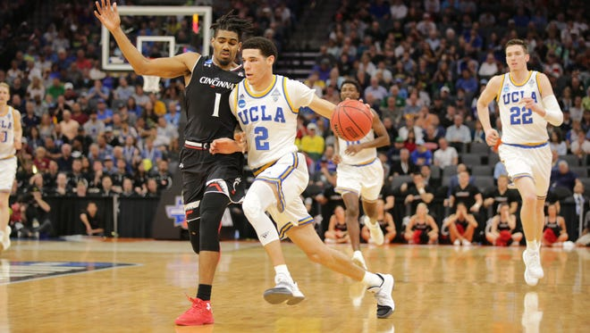 UCLA guard Lonzo Ball drives to the basket against Cincinnati during the second round of the NCAA tournament.
