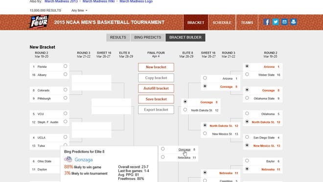 An example of what the Bing bracket-building page will look like.