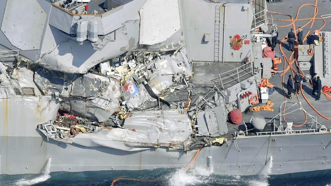 Seven sailors died June 17 when the USS Fitzgerald was hit by a cargo ship 60 miles off the coast of Japan. The Navy has blamed the collision on a loss of situational awareness by sailors on the bridge.