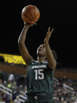 Michigan State forward Victoria Gaines co-led the Spartans with 15 points in their loss to No. 10 Maryland on Thursday.