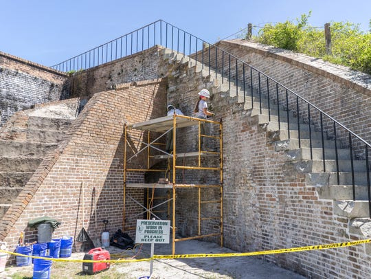 A National Park Service team of historic masonry experts