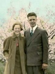 Ethel and Earl Rasmussen of Oconto, who took a month-long honeymoon trip driving to the West Coast in 1937.