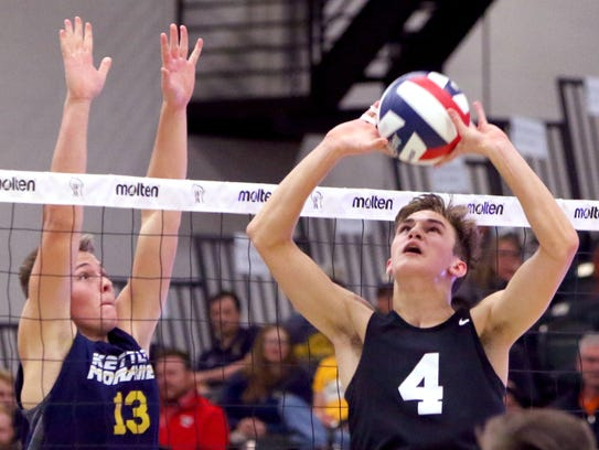Germantown's Anthony Swoboda sets the ball as Kettle