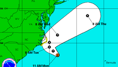 A look at the track of a tropical depression that's