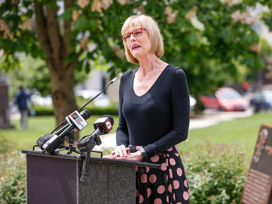 Indiana Lt. Gov. Suzanne Crouch speaks on the west
