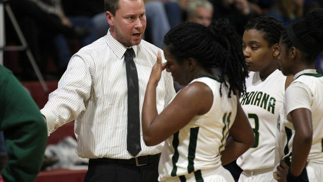Acadiana High coach Nic Jeffers, shown here talking to his Lady Rams during a game earlier this season, pulled off a road playoff upset win Thursday and will be hosting Natchitoches-Central on Monday.
