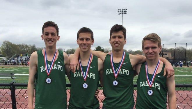 The Ramapo school-record distance medley relay team of Ben Landel, Timmy Suchora, Michael Petrazzuolo and Noah Kilday.