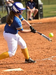 Waynesboro's Jenna Powell connects for a hit during