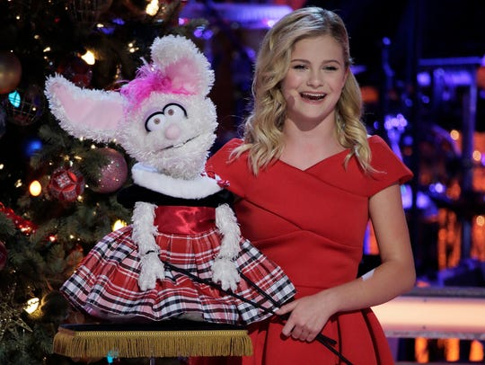 Darci Lynne, left, and her bunny puppet, Petunia, in