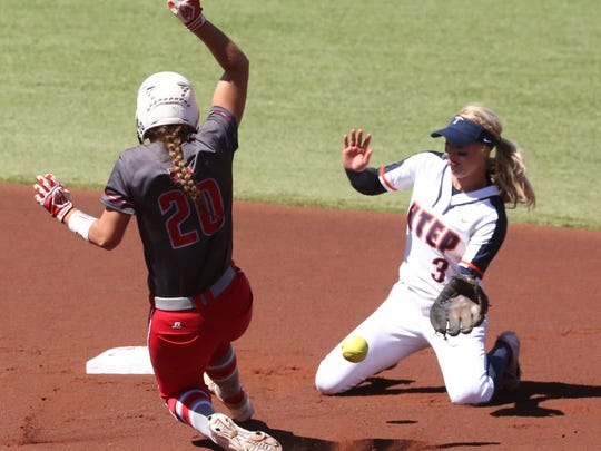 UTEP second baseman Courtney Clayton, 3, does not catch the throw to second as Haylee Towers of Western Kentucky slides in safely Saturday at Helen of Troy softball complex.