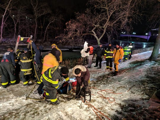 It was around 10 p.m. Sunday when firefighters in Wilmington, redirected from a structure fire, assembled to help rescue a man who was trying to rescue his dog from the frozen Brandywine River.