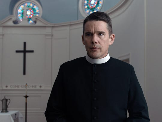 """Ethan Hawke in a scene from """"First Reformed."""""""