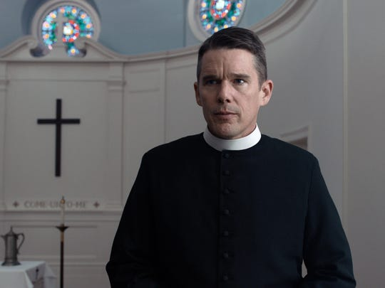 "Ethan Hawke in a scene from ""First Reformed."""