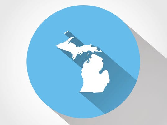 Map state of Michigan