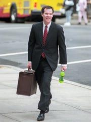 Prosecutor Colm F. Connolly heads to Daniel Hermann