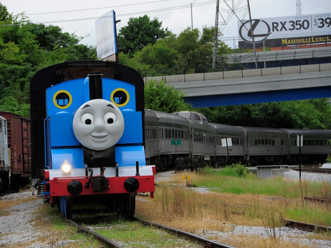Thomas the Tank Engine returns to the station at the Day Out with Thomas event at the Tennessee Central Railway Museum Sunday, Aug. 31, 2014, in Nashville, Tenn.