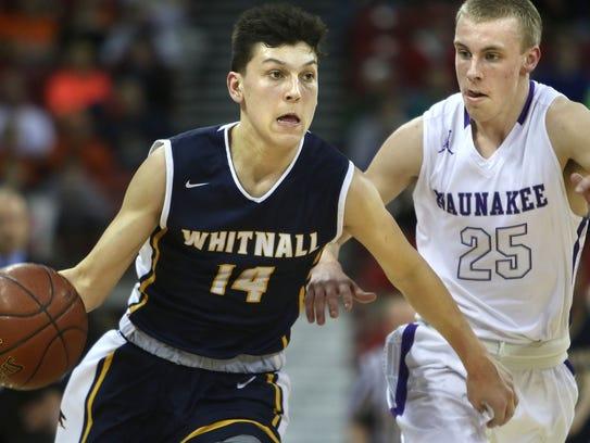 Tyler Herro (14) helped the Whitnall boys basketball