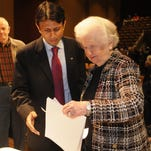 Gov. Bobby Jindal speaks with Virginia Shehee after he spoke at LSUS, in a Times file photo. Shehee died Monday at age 91, just shy of her 92nd birthday.