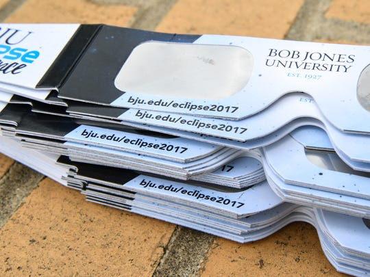Bob Jones University is getting ready to host a Solar Eclipse viewing on August 21 at the school, and putting their name, safety instruction, and their website on the paper part of the viewing goggles helps their branding, says Abby White of the Bob Jones University public relations department.