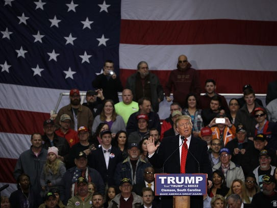Donald Trump speaks during a campaign rally on Feb.