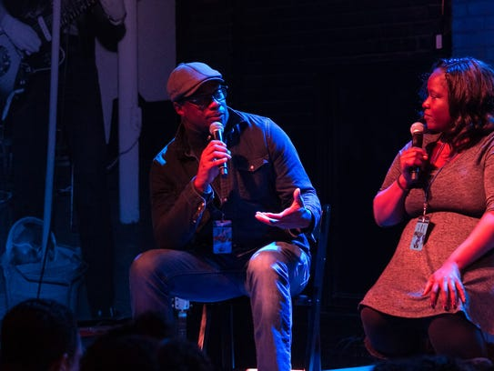 Drake Phifer, who deejays as phifedom, speaks at a 2016 event at Third Man Records.