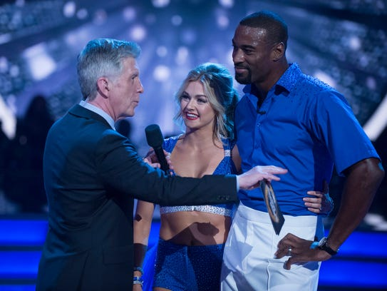 Ex-Lion Calvin Johnson with partner Lindsay Arnold