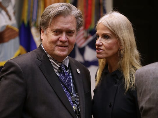 Conway and White House chief strategist Steve Bannon