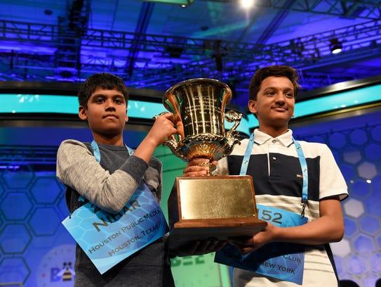 Nihar Janga and Jairam Hathwar celebrate as co-champions